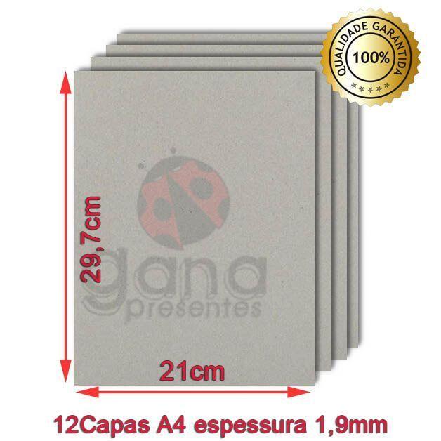 Papelão cinza A4 para Capa de Caderno 29,7x21cm Kit com 6 pares