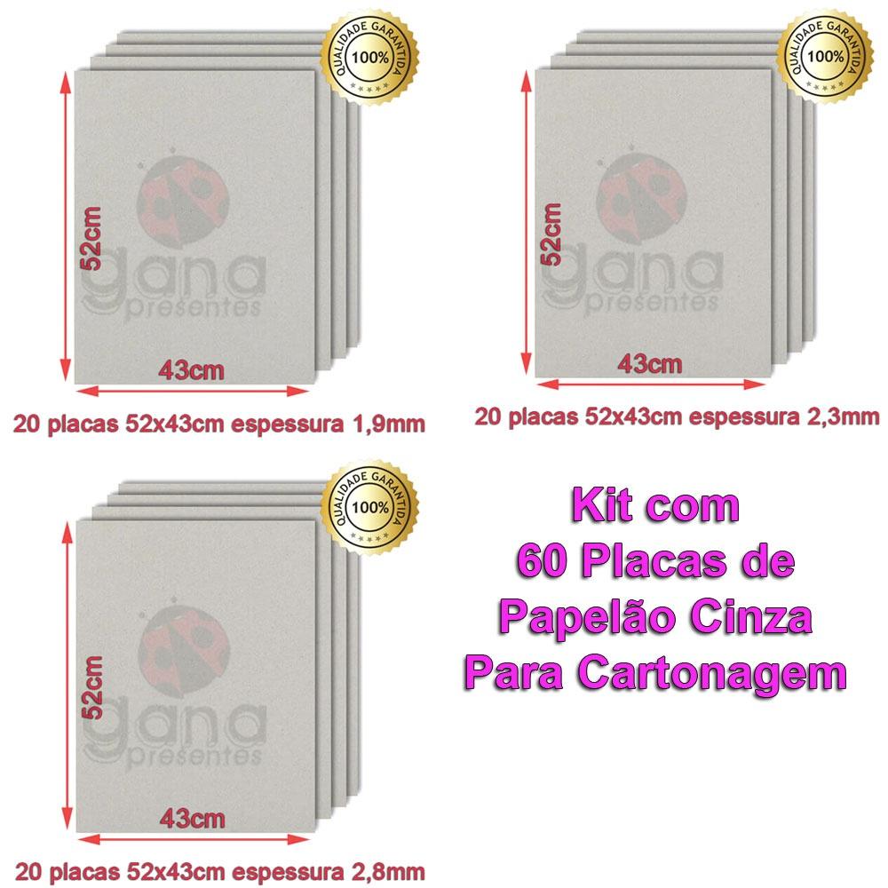 Papelão Cinza para cartonagem 60 placas sendo 20 2,8mm +20 2,3mm 1,9mm 20un de 2,8mm+20un 2,3mm+20un