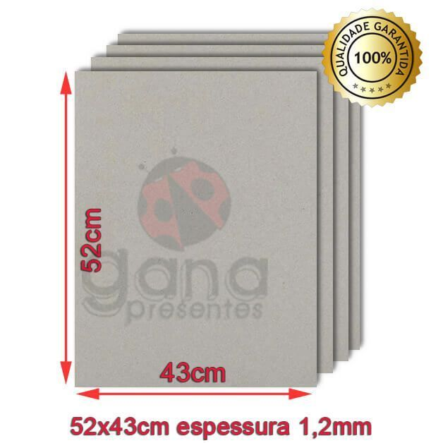 Papelão para cartonagem 40x50cm espessura 1,2mm - Cinza 20 placas de 1,2mm-Papelão