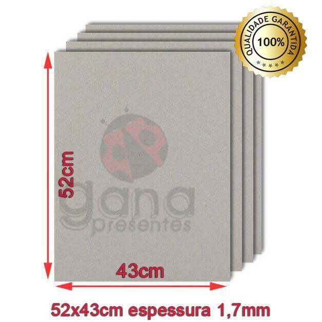 Papelão para cartonagem 40x50cm espessura 1,7mm - Cinza 10 placas de 1,7mm-Papelão