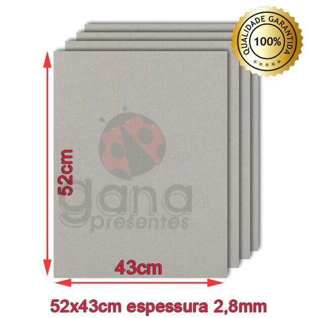 Papelão para cartonagem 40x50cm espessura 2,8mm - Cinza 10 placas de 2,8mm-Papelão