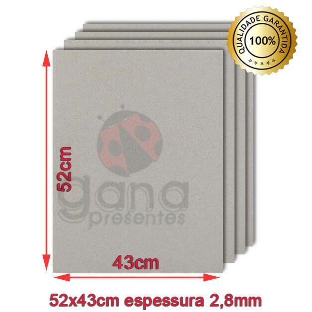 Papelão para cartonagem 40x50cm espessura 2,8mm - Cinza 40 placas de 2,8mm-Papelão