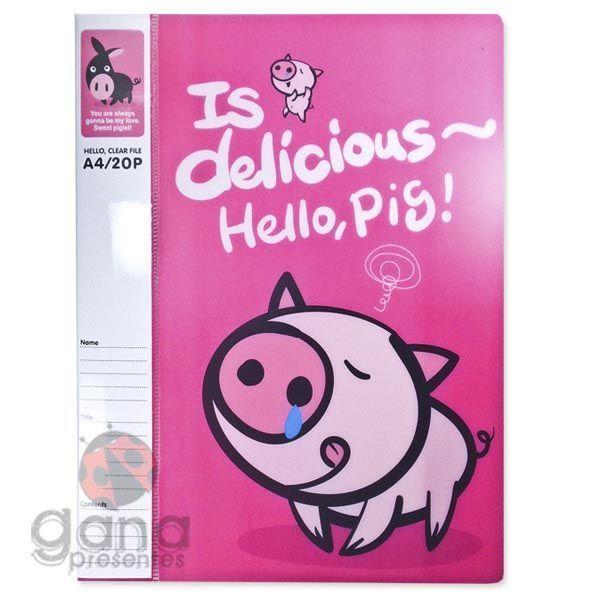 Pasta Catalogo 20 folhas Hello Pig - B Rosa 210ET-P016