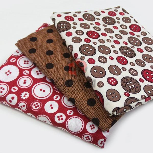 Tecido de Revestimento cartonagem - Kit 3 tecidos Composê Botões Costura Composês