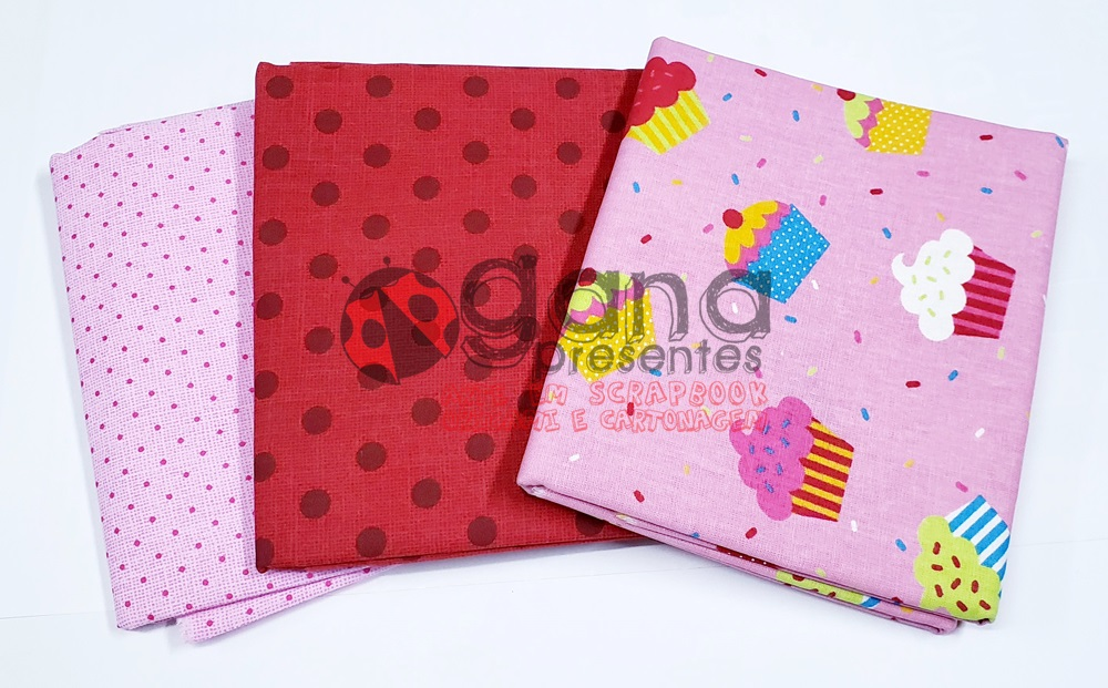 Tecido de Revestimento Cartonagem - Kit 3 tecidos Cupcake Pink