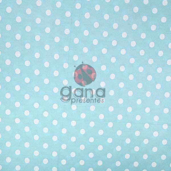 Tecido de Revestimento cartonagem patchwork - Básico Azul nº118 Fundo claro com bolas branca