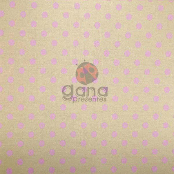 Tecido de Revestimento cartonagem patchwork - Básico Bege nº426 Bolas Rosa