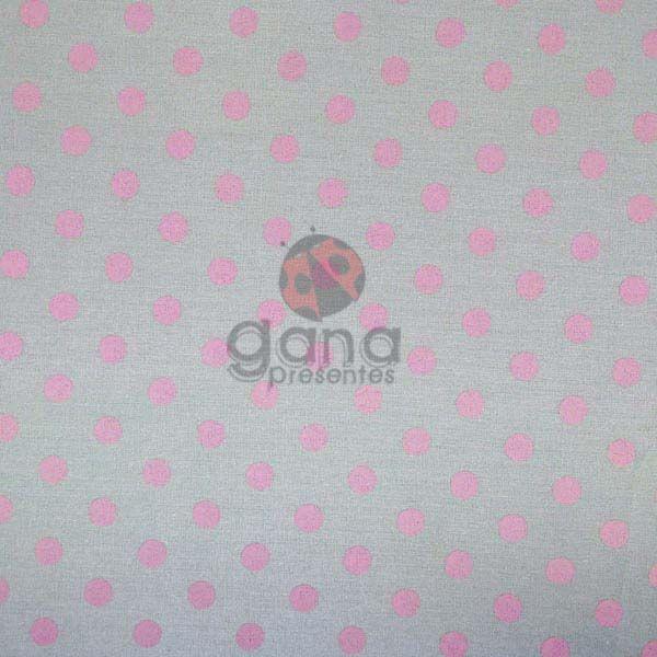 Tecido de Revestimento cartonagem patchwork - Básico Cinza nº458 Fundo com bolas rosa