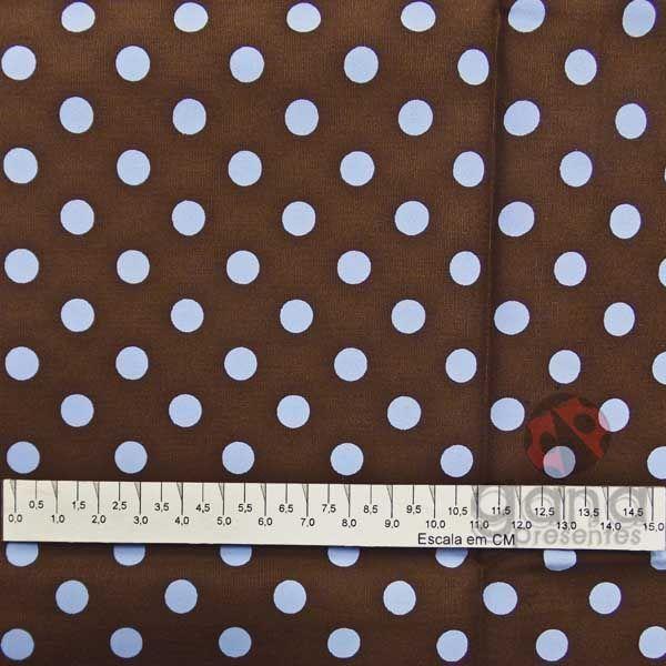 Tecido de Revestimento cartonagem patchwork - Básico Marrom nº445 com Bolas Azul