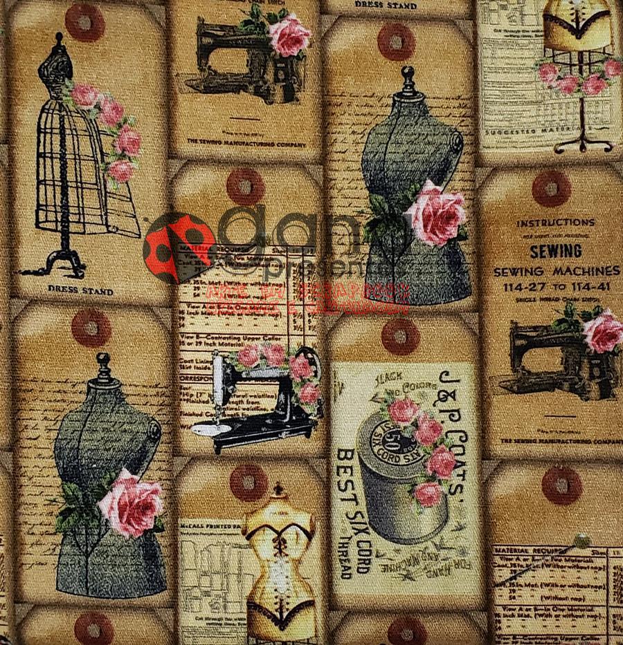 Tecido de Revestimento cartonagem patchwork Digital - Estampado nº348 estampa #348 Moda Vintage