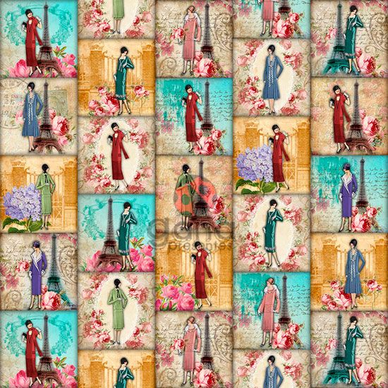 Tecido de Revestimento cartonagem patchwork Digital - Estampado nº358 estampa #358 Mulheres Paris
