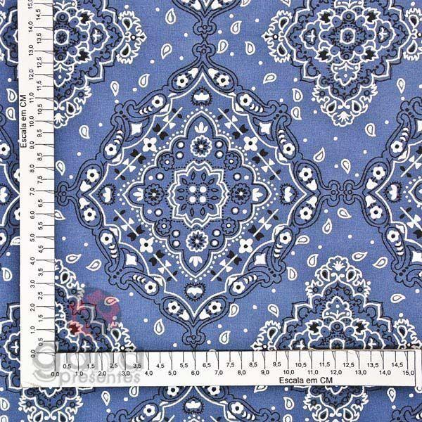 Tecido de Revestimento cartonagem patchwork - Estampado Azul nº072 Bandana