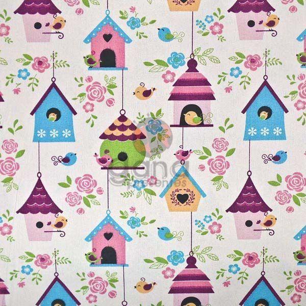 Tecido de Revestimento cartonagem patchwork - Estampado Bege nº416 Casinha e Passarinhos