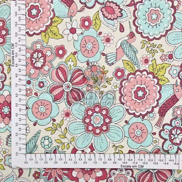 Tecido de Revestimento cartonagem patchwork - Estampado Bege nº420 Flores e Beija-flor