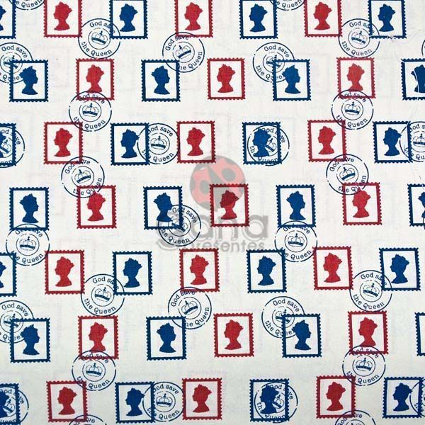 Tecido de Revestimento cartonagem patchwork - Estampado Bege nº421 Selos Britânicos