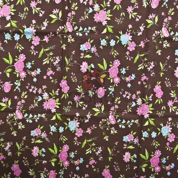 Tecido de Revestimento cartonagem patchwork - Estampado Marrom nº441 Flores Rosa Azul