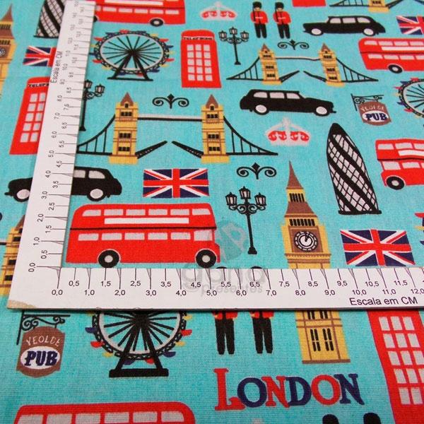 Tecido de Revestimento cartonagem patchwork - Estampado Verde nº473 Londres Turquesa