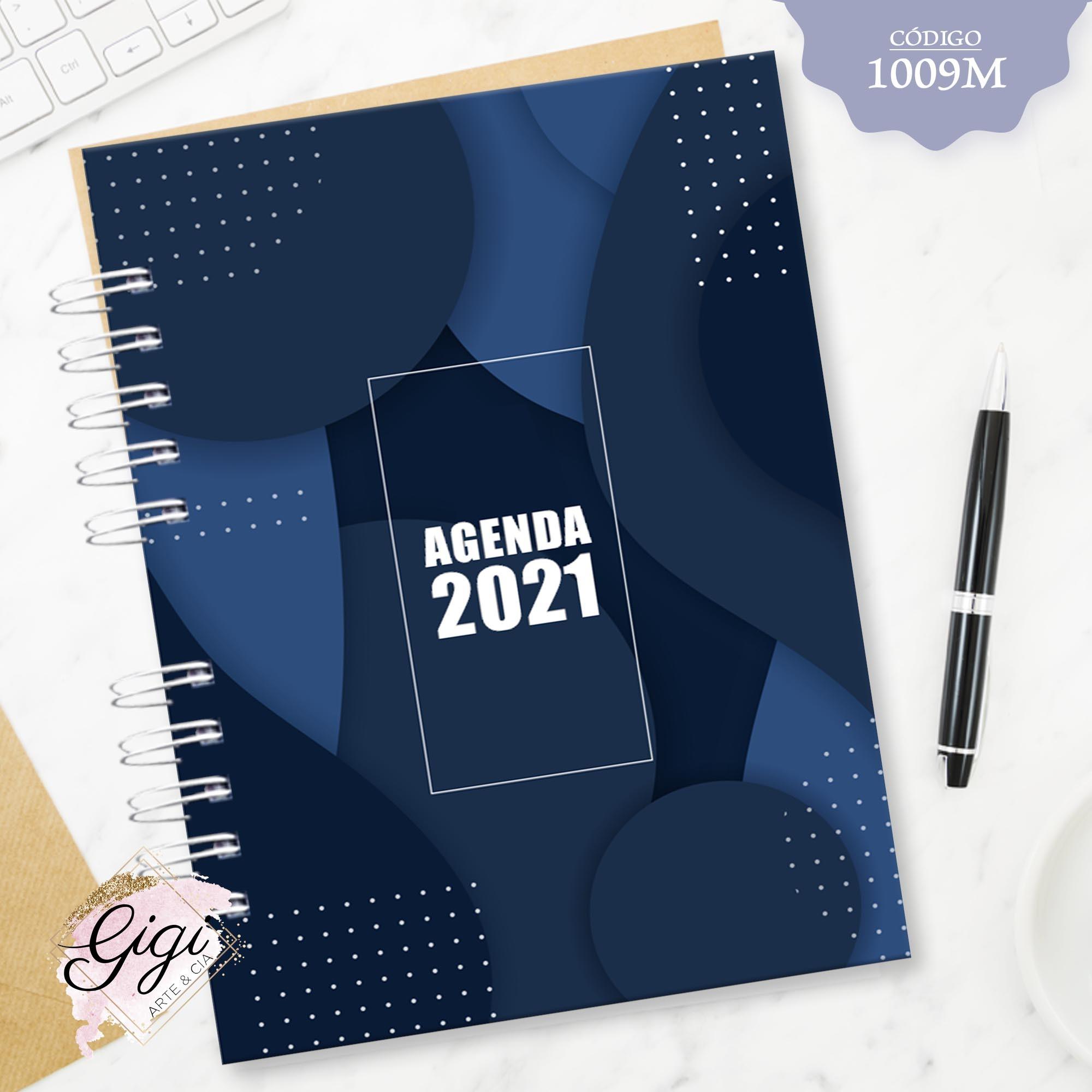 Abstrato Azul 1009M - Agendas | Blocos | Cadernos  - Gigi Arte e Cia