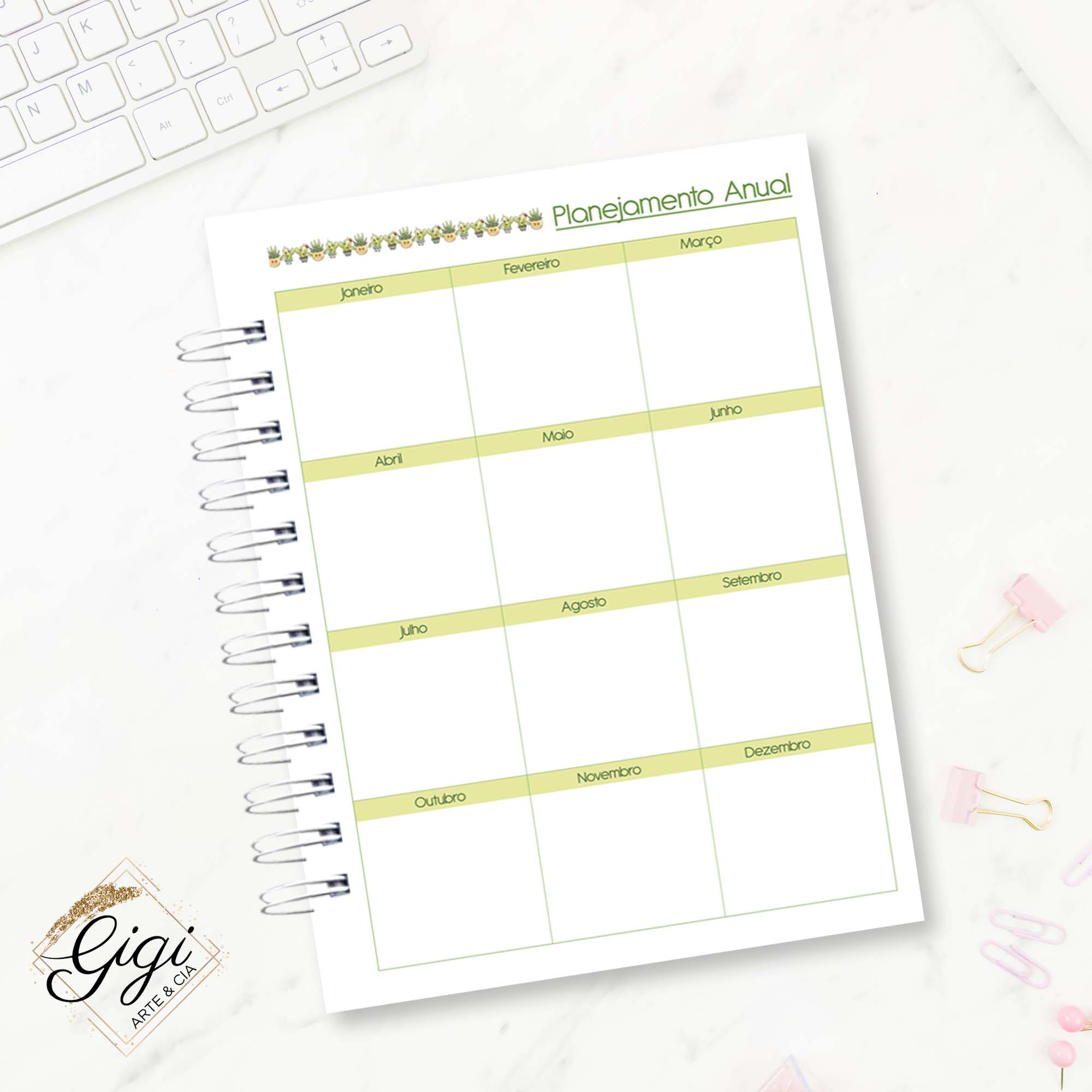 Agenda Permanente - Cactos  - Gigi Arte e Cia