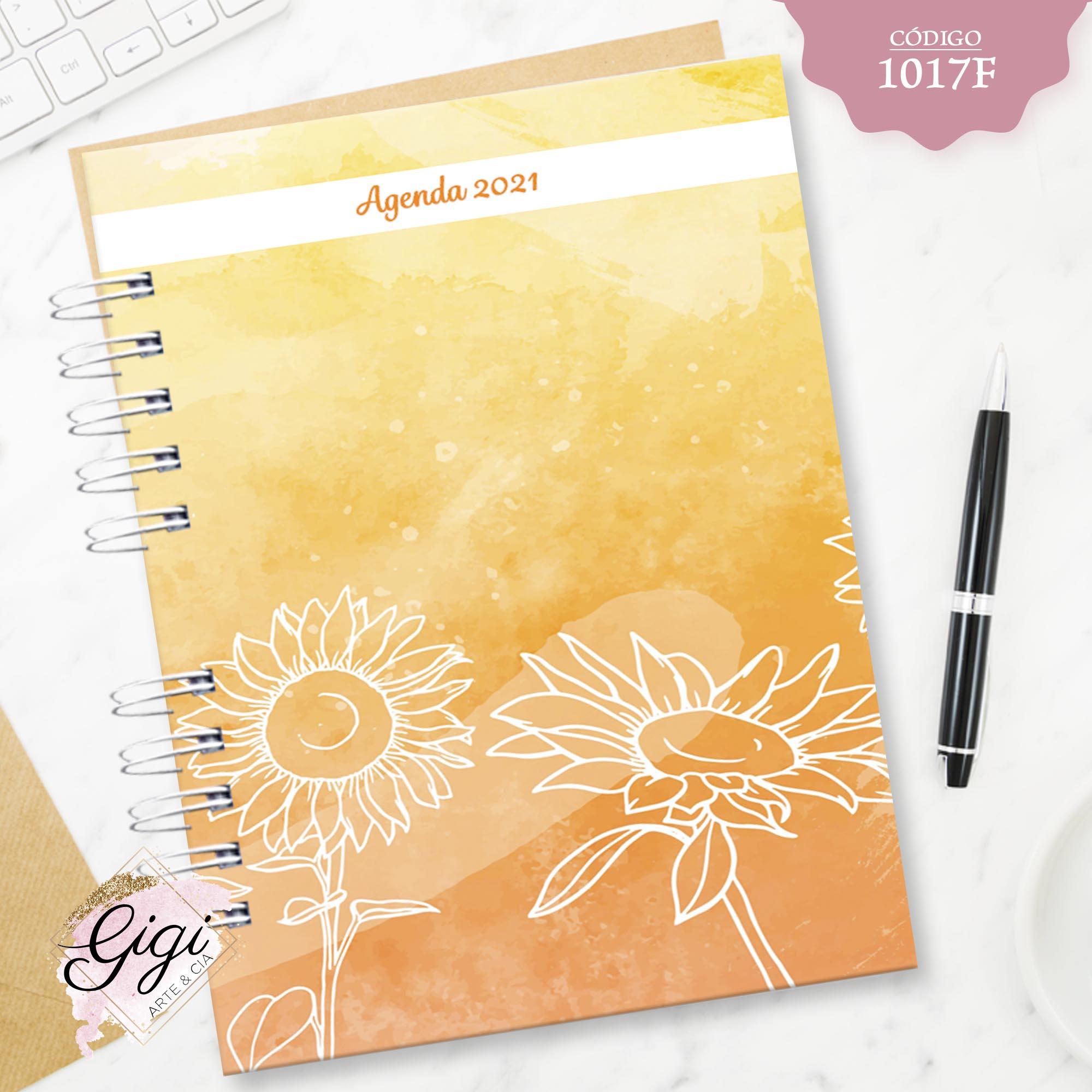 Aquarela de Girassol 1017F - Agendas   Blocos   Cadernos  - Gigi Arte e Cia