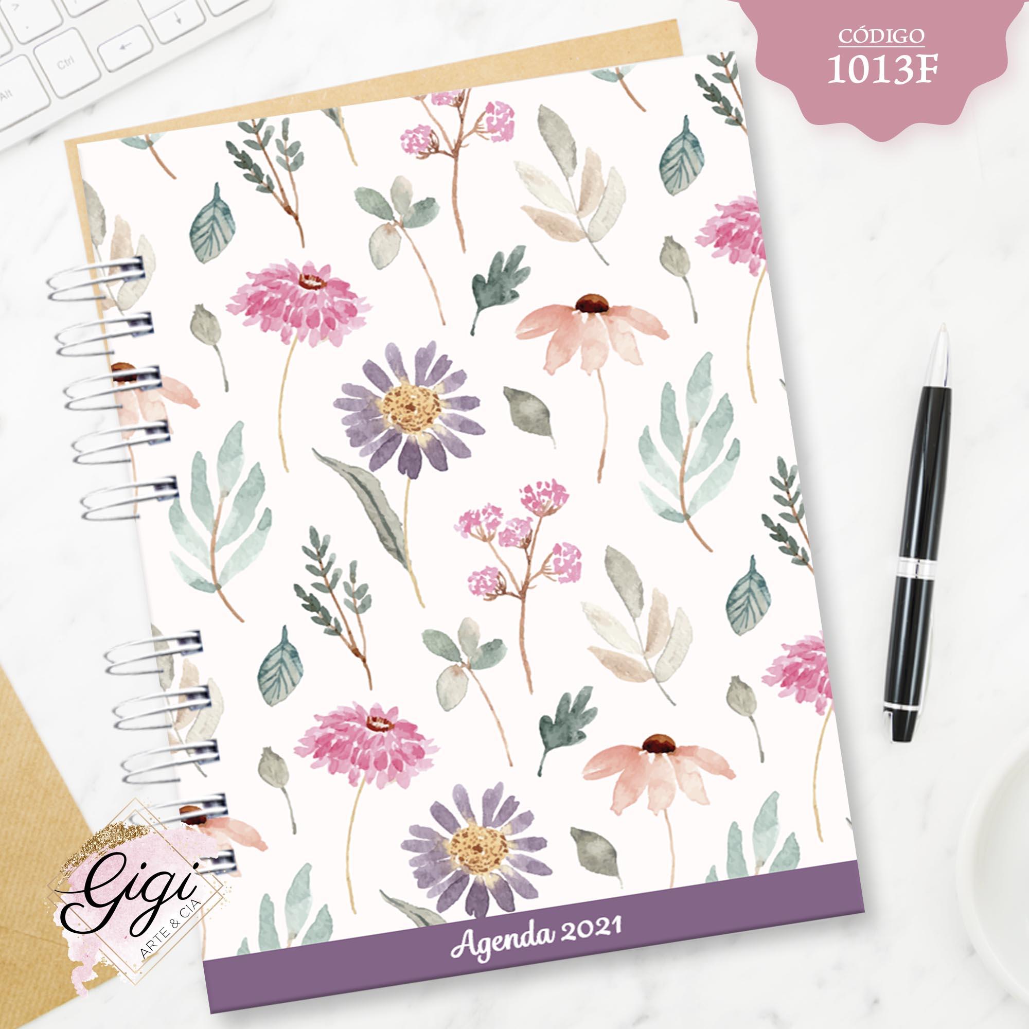 Aquarela Floral 1013F - Agendas | Blocos | Cadernos  - Gigi Arte e Cia