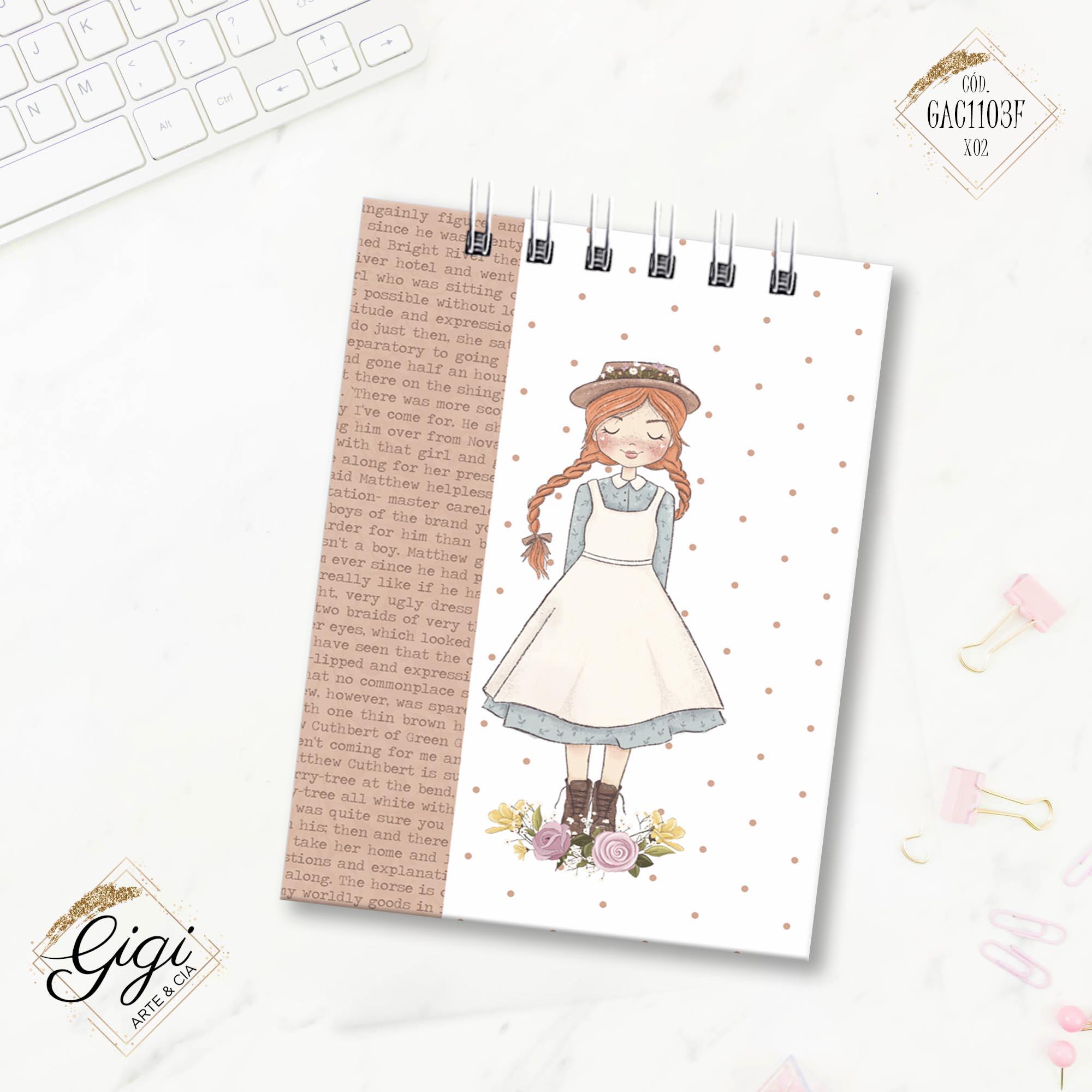 Bloco de Anotações - Anne White  - Gigi Arte e Cia