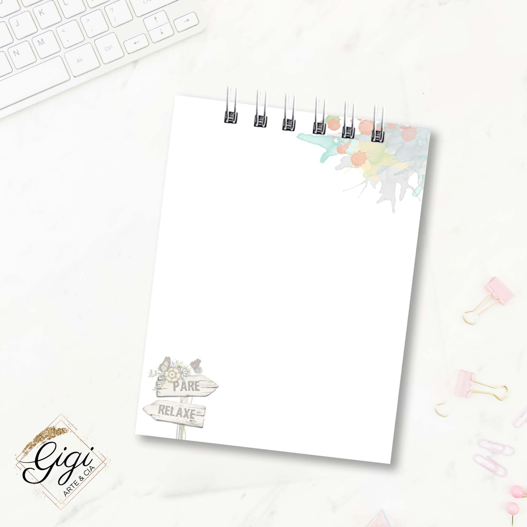 Bloco de Anotações - Pausa Necessária  - Gigi Arte e Cia