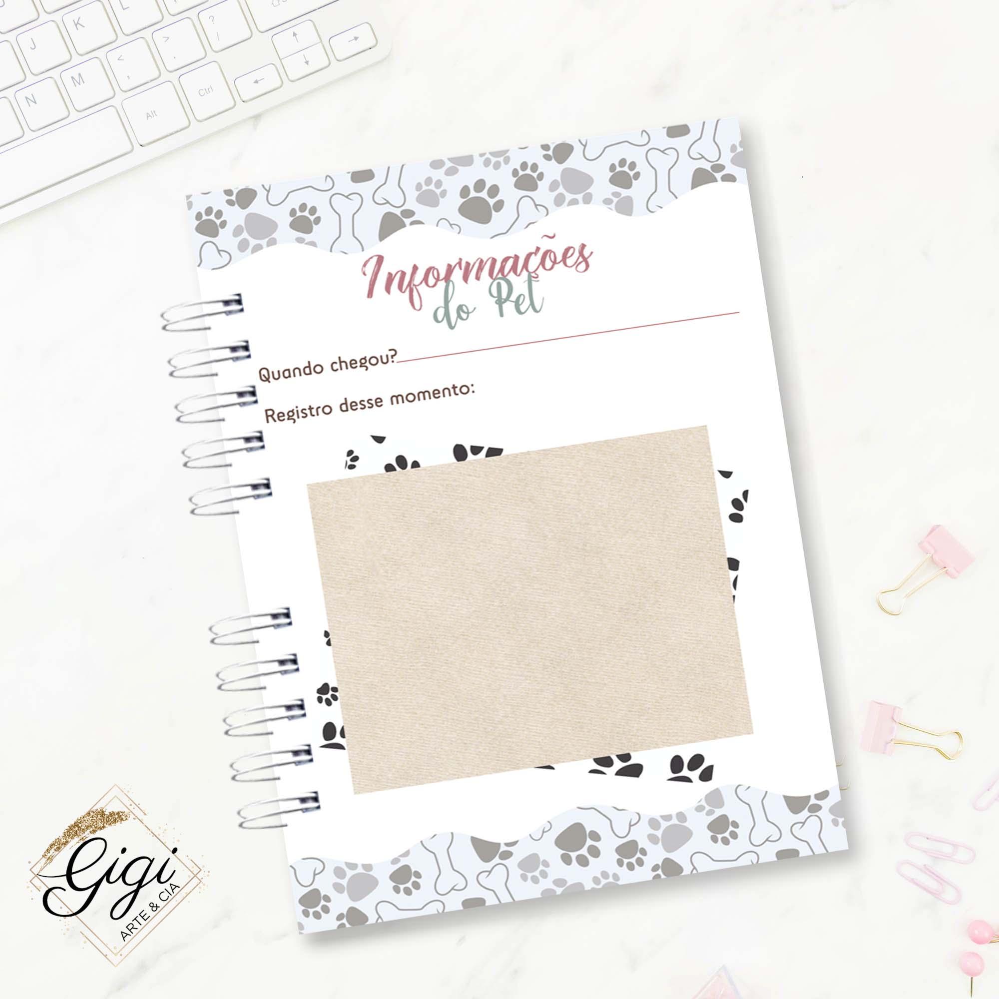 Caderneta do Pet - Pets  - Gigi Arte e Cia