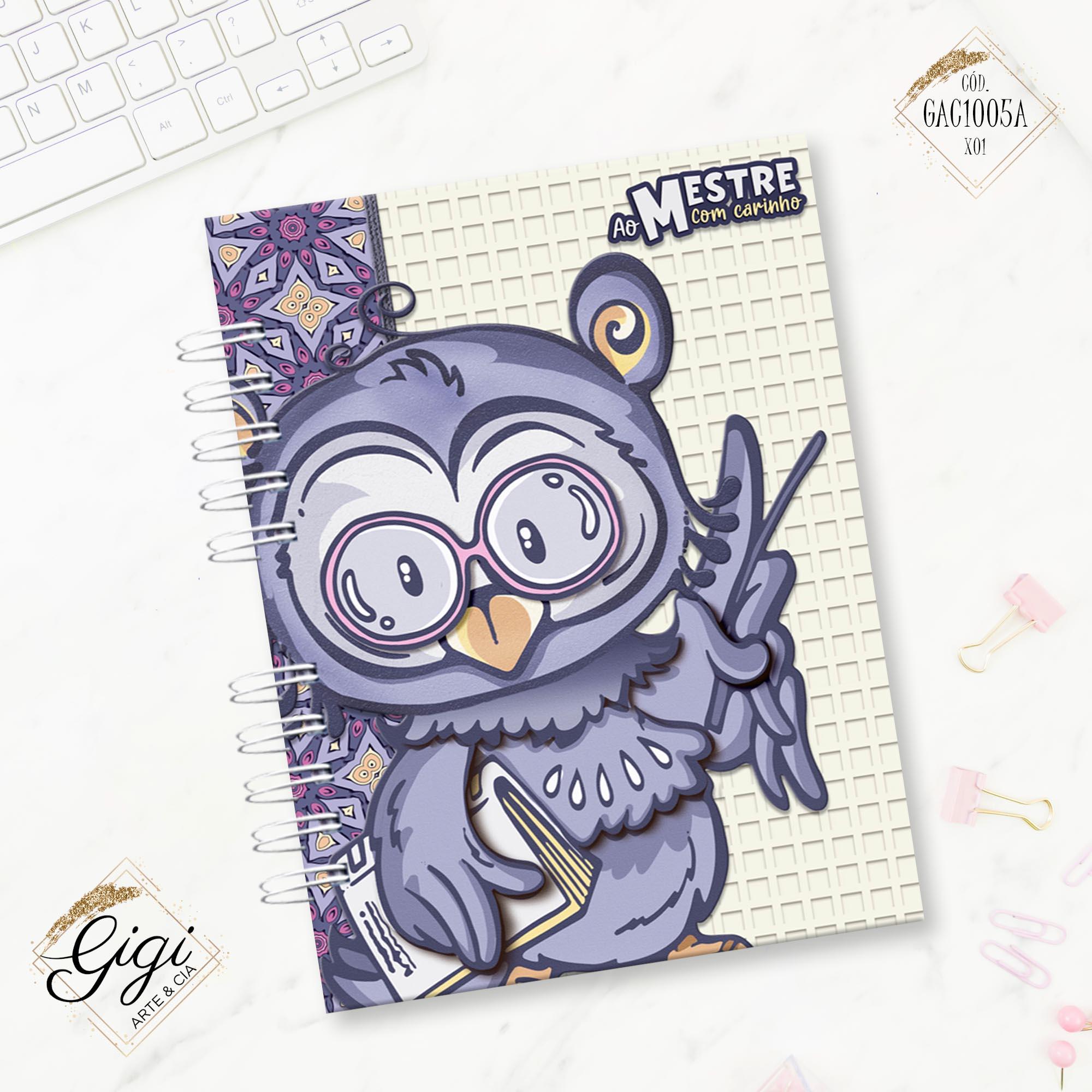 Caderno A5 - Ao Mestre com Carinho  - Gigi Arte e Cia