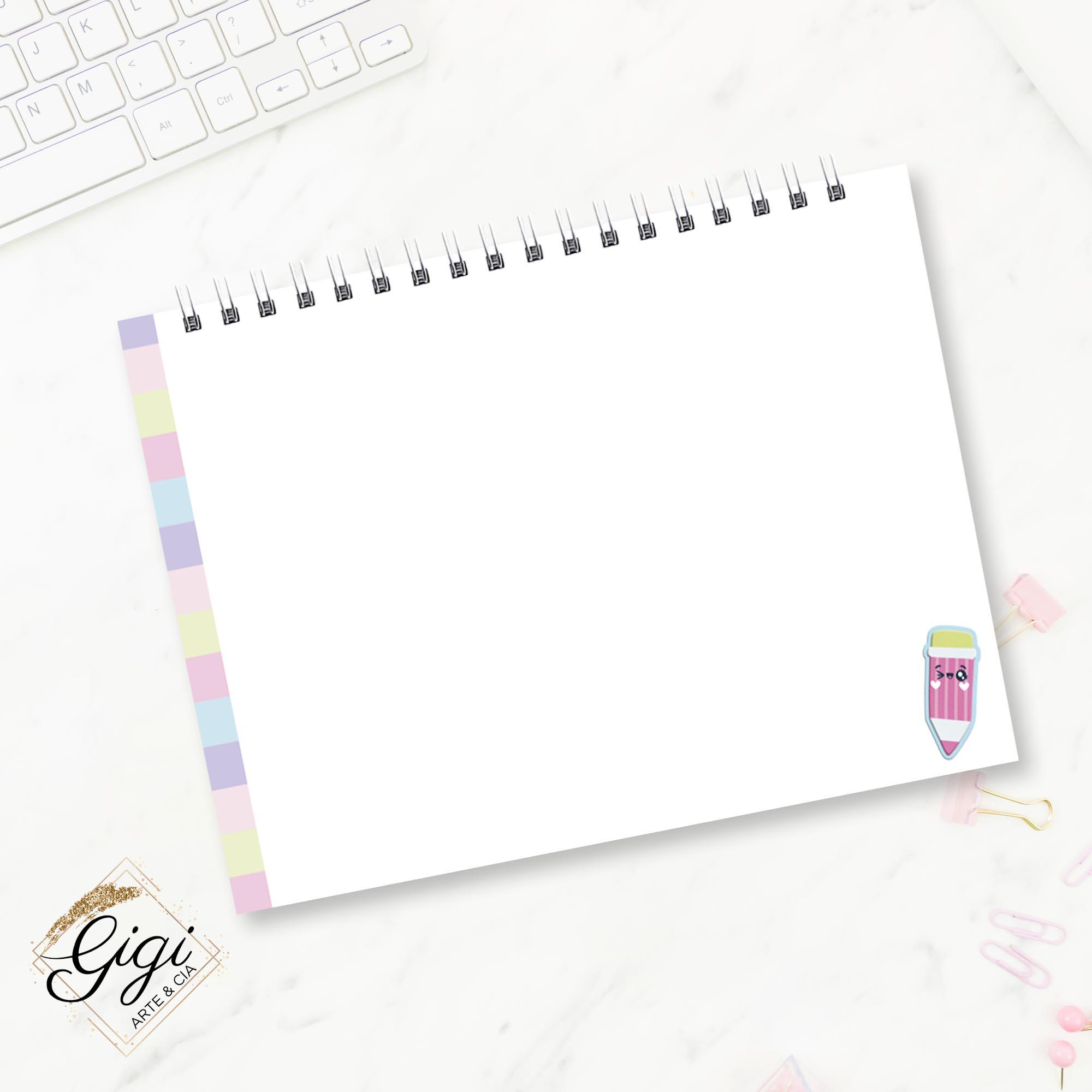 Caderno de Desenhos A4 - Meninas - Volta às Aulas  - Gigi Arte e Cia