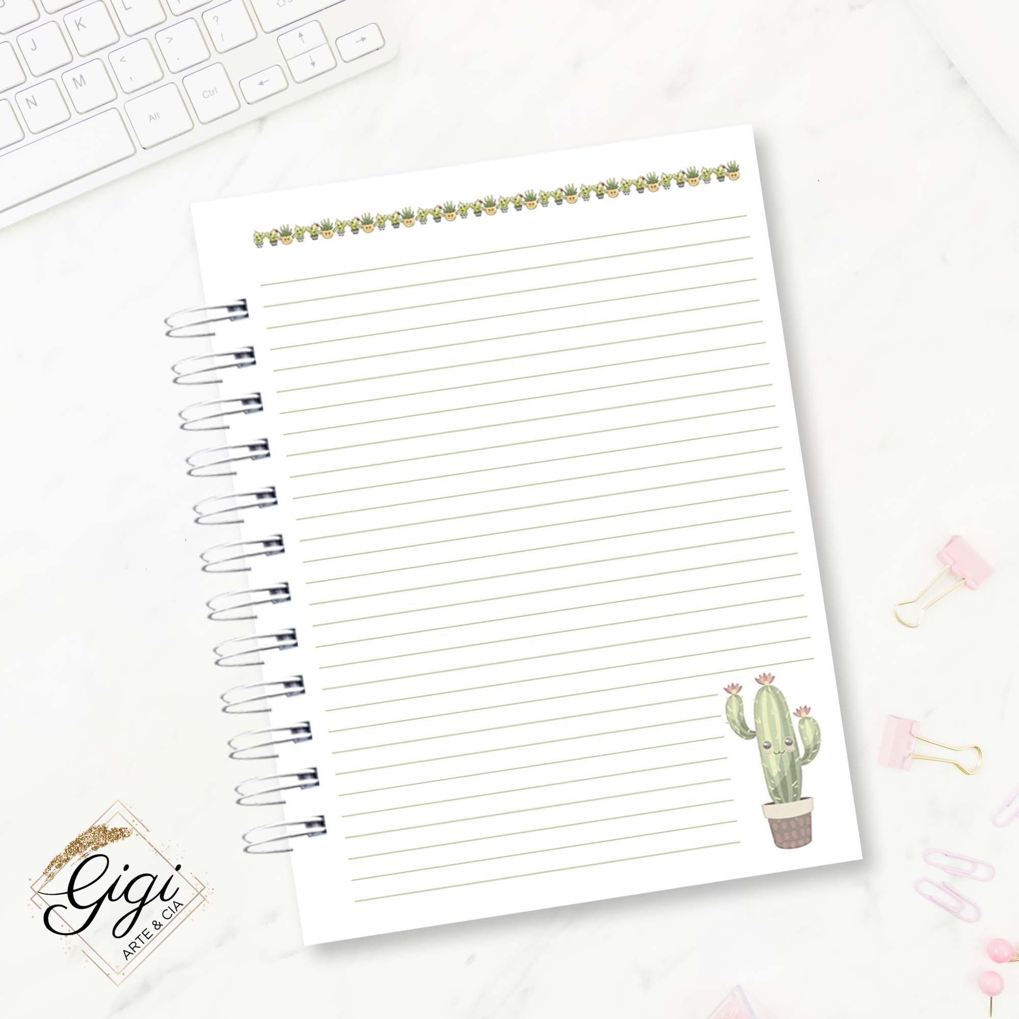 Caderno de Universitário - Cactos  - Gigi Arte e Cia
