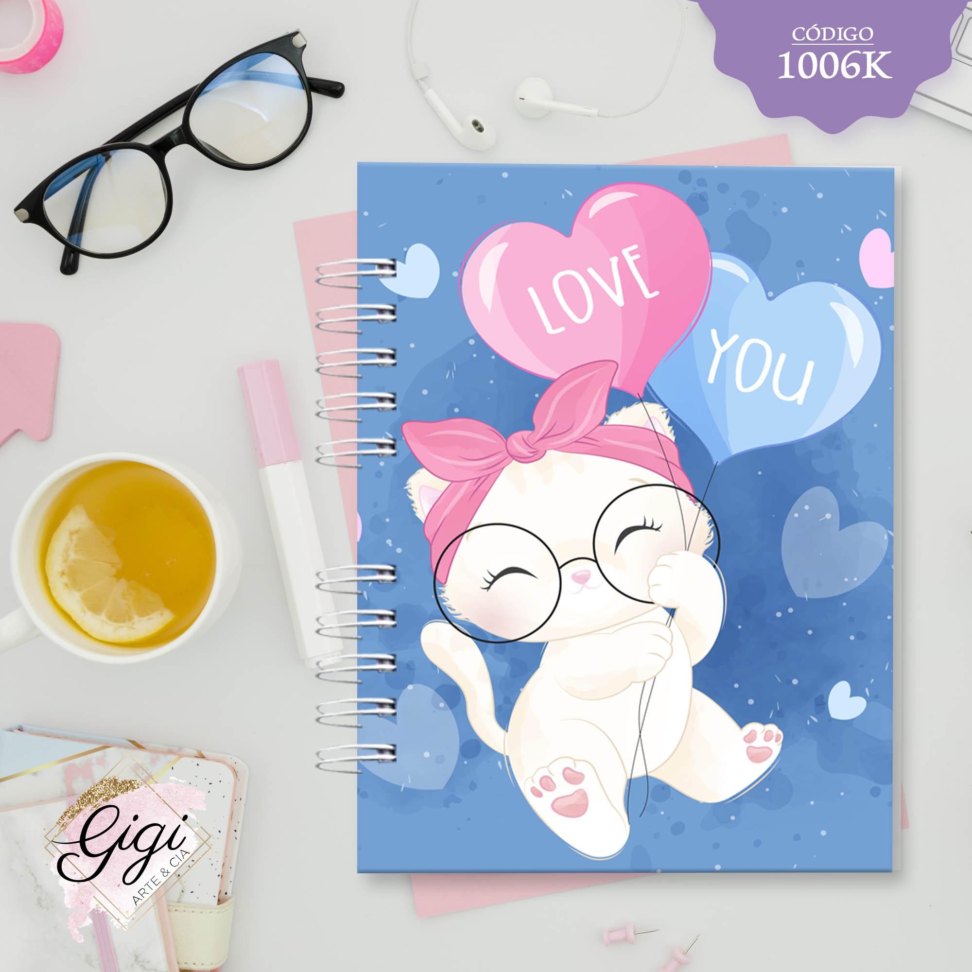 Caderno A5 Gatinho I love you  - Gigi Arte e Cia