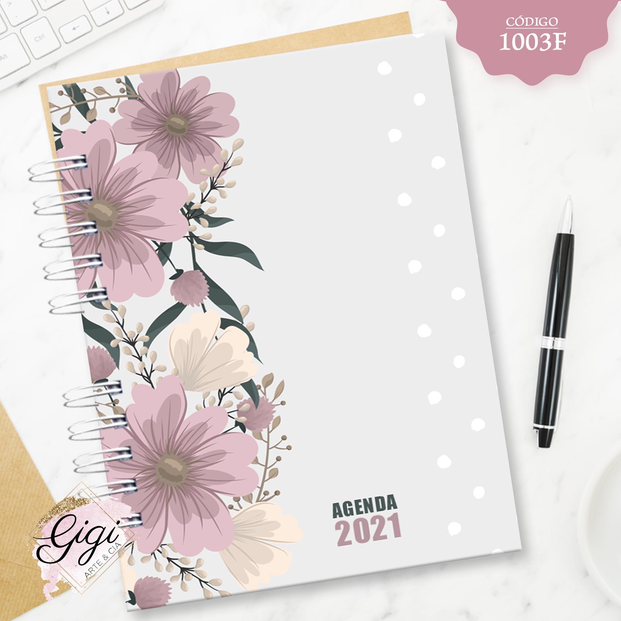 Floral 1003F - Agendas | Blocos | Cadernos  - Gigi Arte e Cia