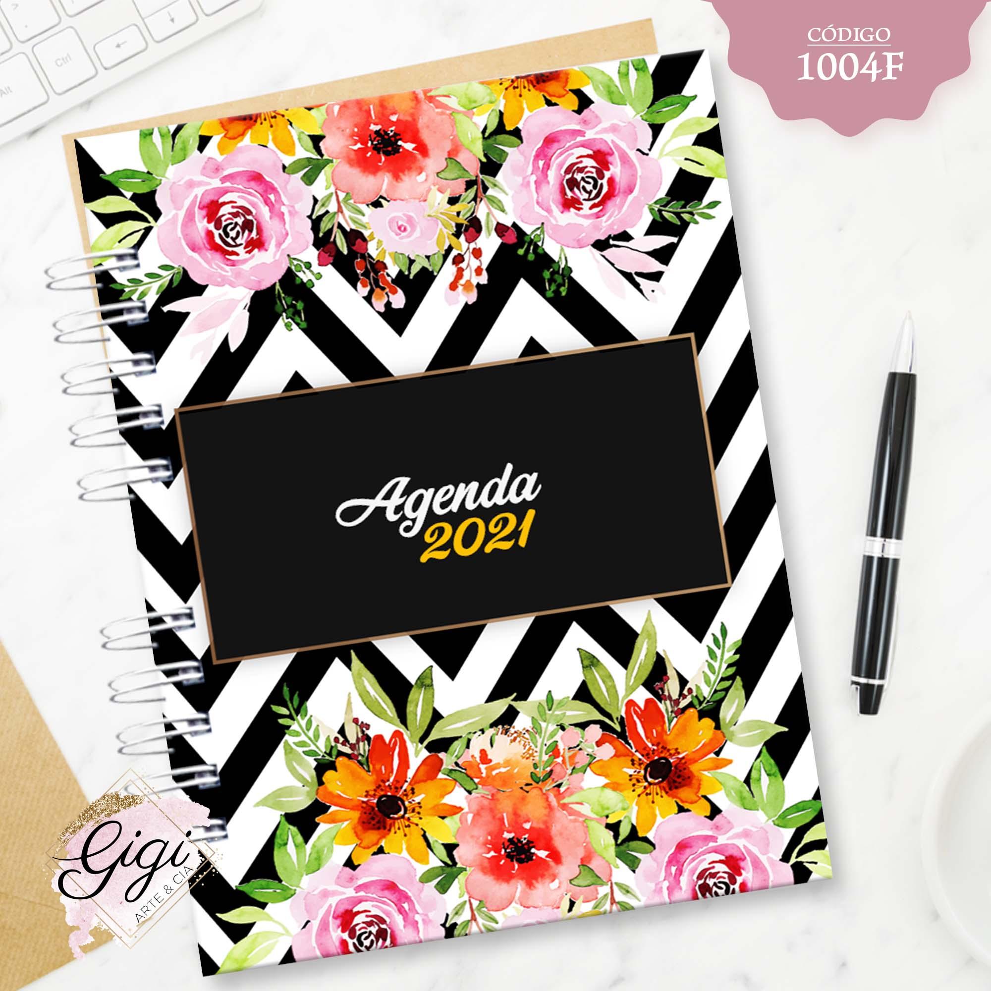 Floral 1004F - Agendas | Blocos | Cadernos  - Gigi Arte e Cia