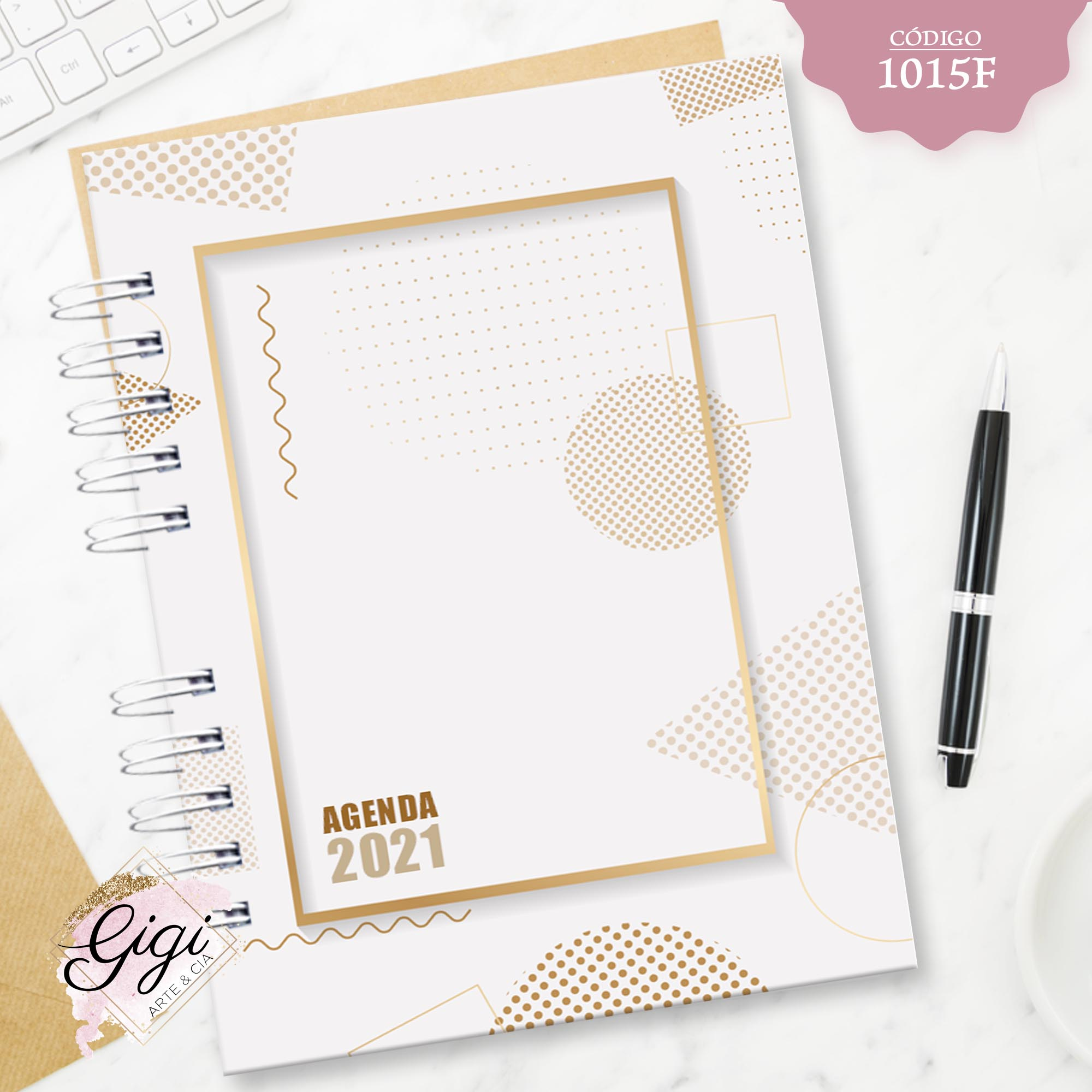 Geométrico Gold 1015F - Agendas | Blocos | Cadernos  - Gigi Arte e Cia