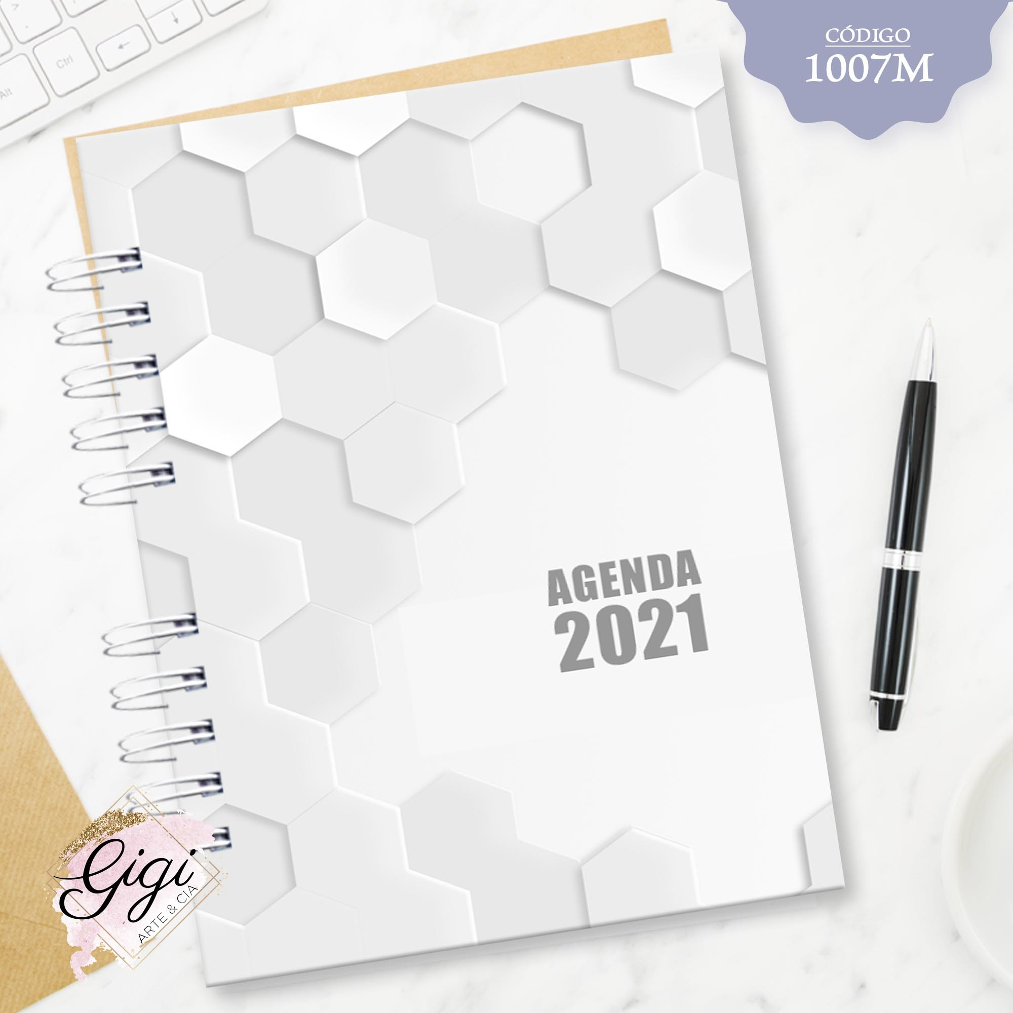 Hexágonos 1007M - Agendas | Blocos | Cadernos  - Gigi Arte e Cia