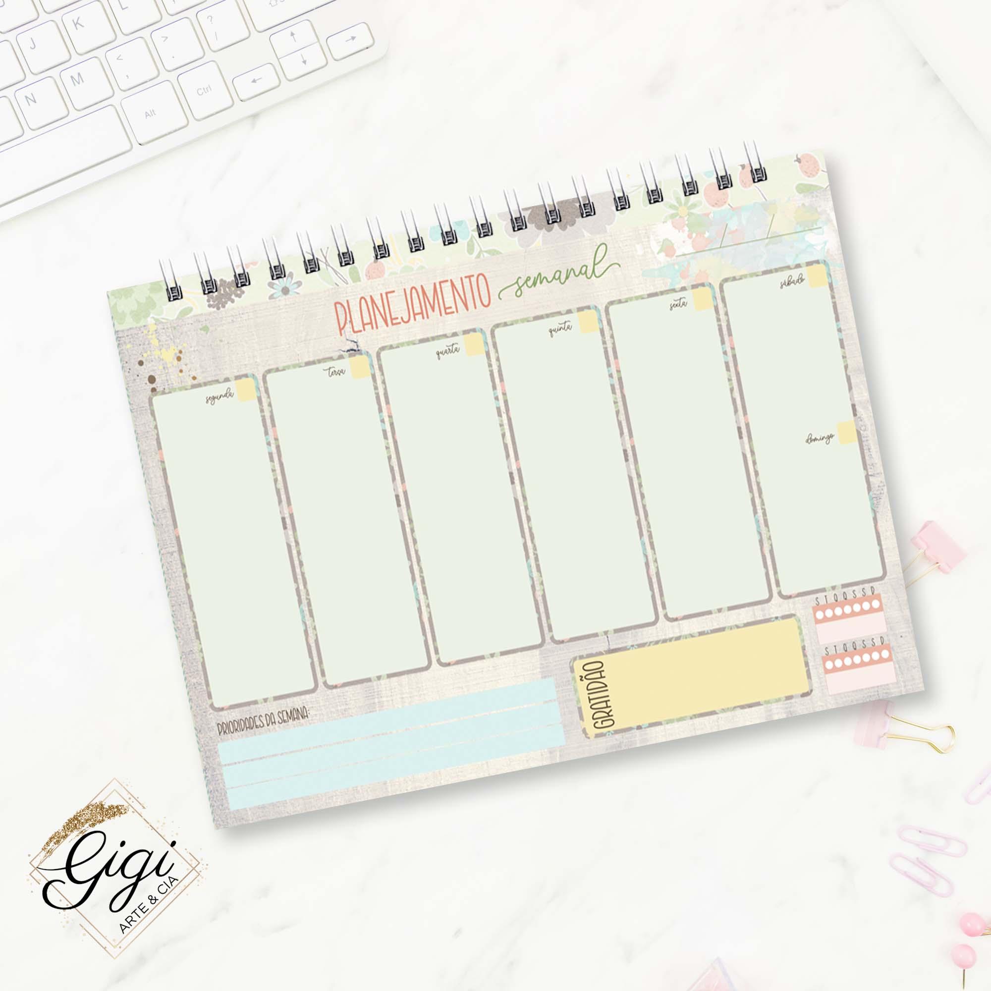 Planejamento Semanal - Pausa Necessária  - Gigi Arte e Cia