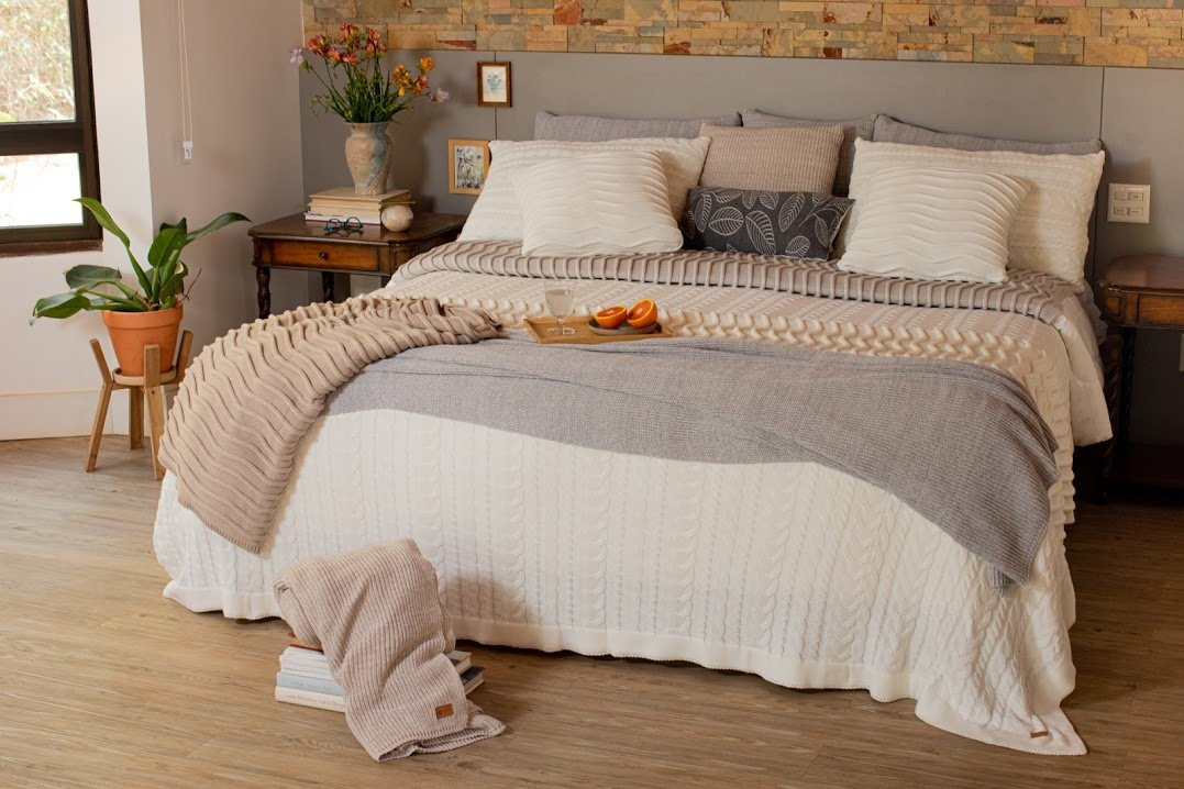 Colcha Casal 260 x 240 Cotton Rian Tricot Cru e Cinza