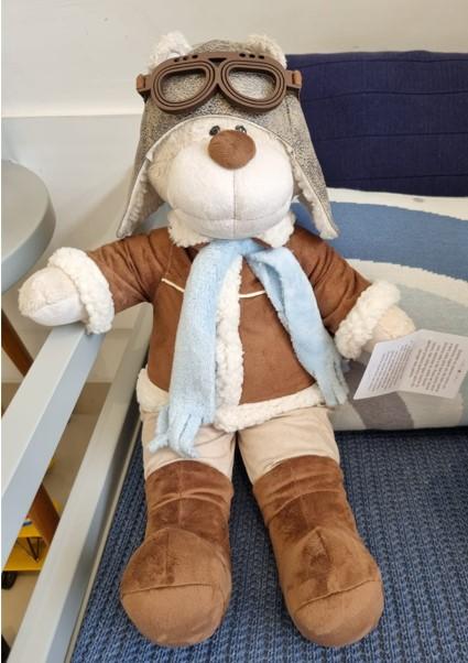 Urso de Pelúcia Bochecha Aviador Antigo 1