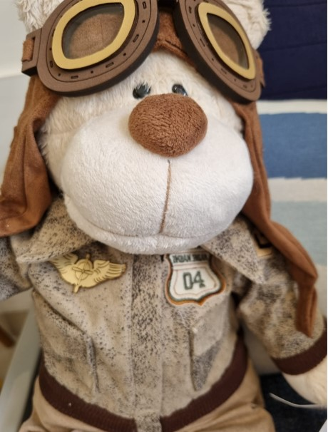 Urso de Pelúcia Bochecha Aviador Antigo