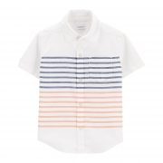 Camisa listrada azul e laranja
