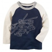 Camiseta Azul Helicóptero | 09 meses