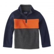 Sweater fleece marinho e laranja