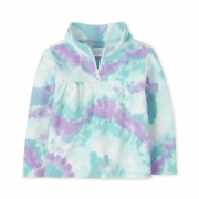 Sweater fleece Tye Dye verde e lilas | 12 - 18 meses