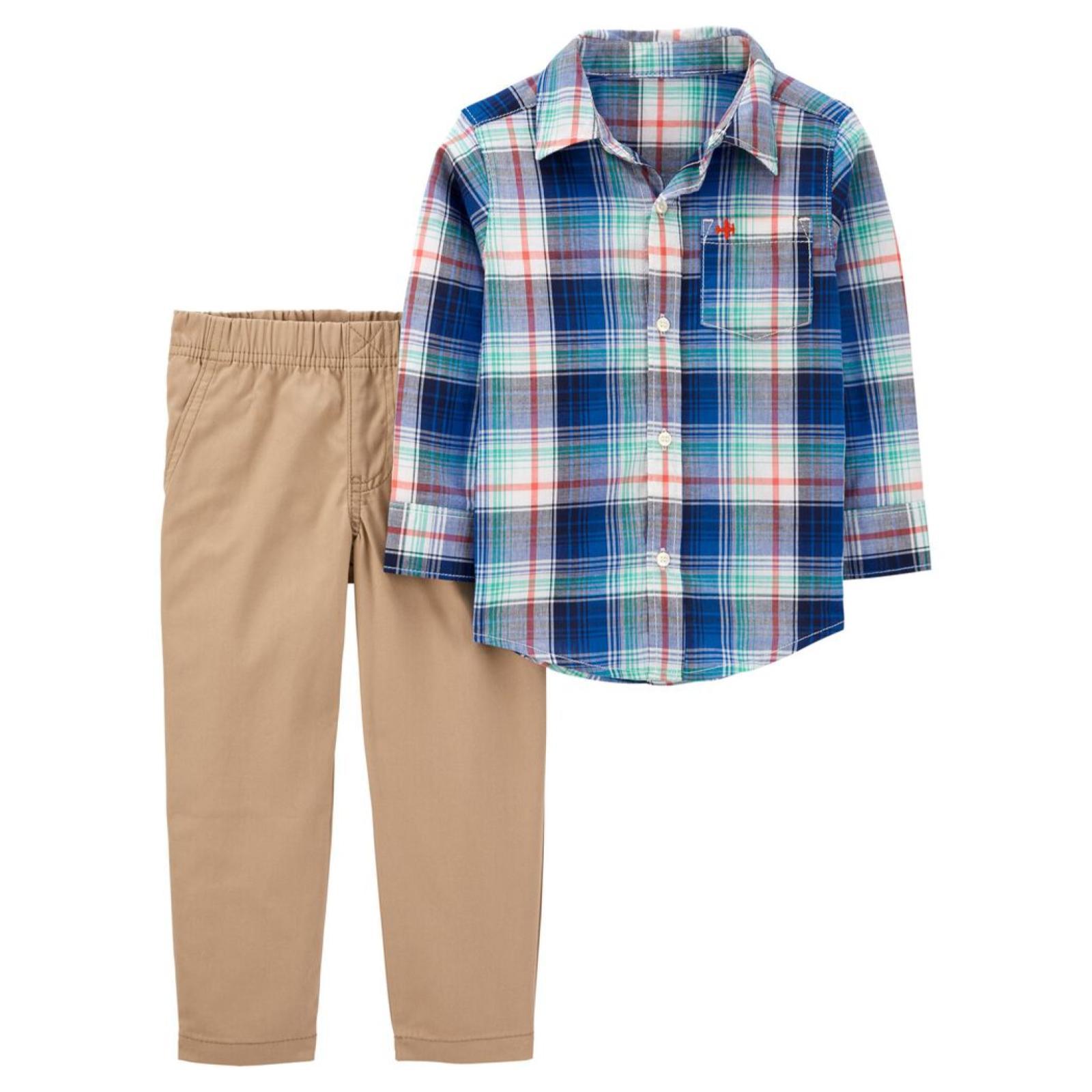 Conjunto 2 peças xadrez azul - camisa manga longa e calça bege