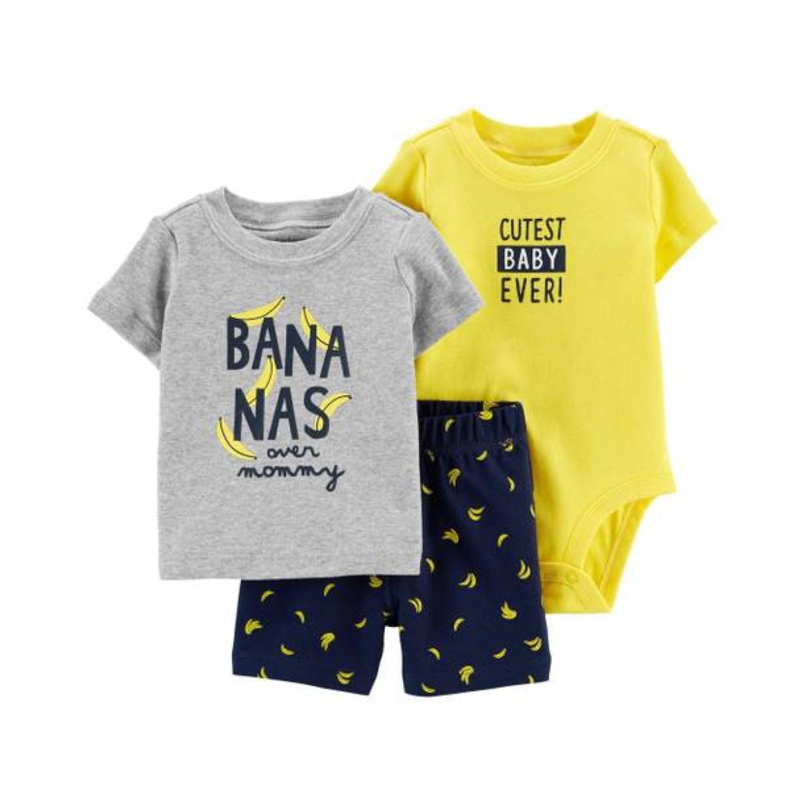 Conjunto 3 pecas bananas - shorts, body manga curta e camiseta