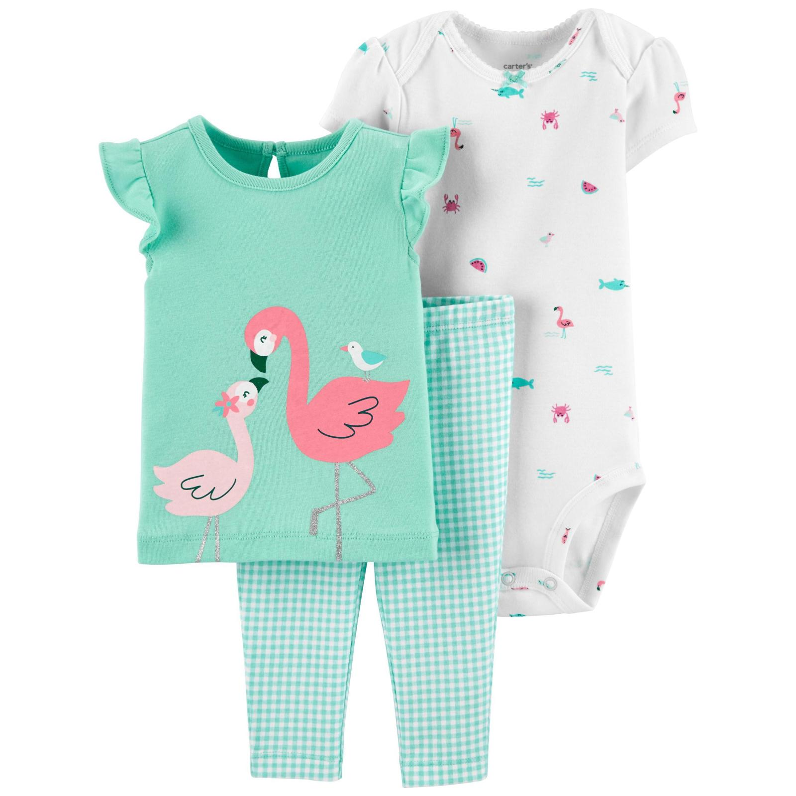 Conjunto 3 pecas verde flamingo