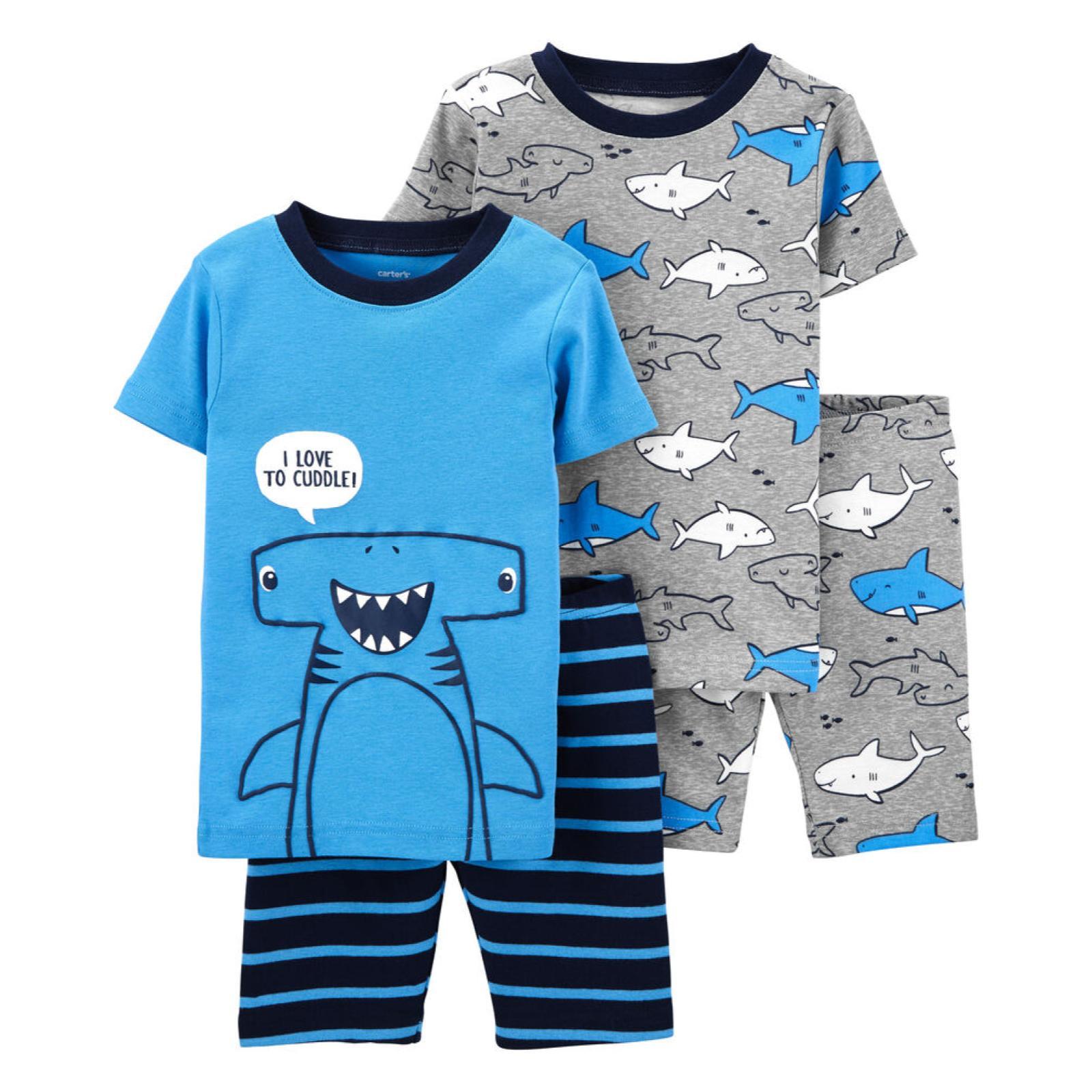 Pijama 4 peças azul tubarão martelo