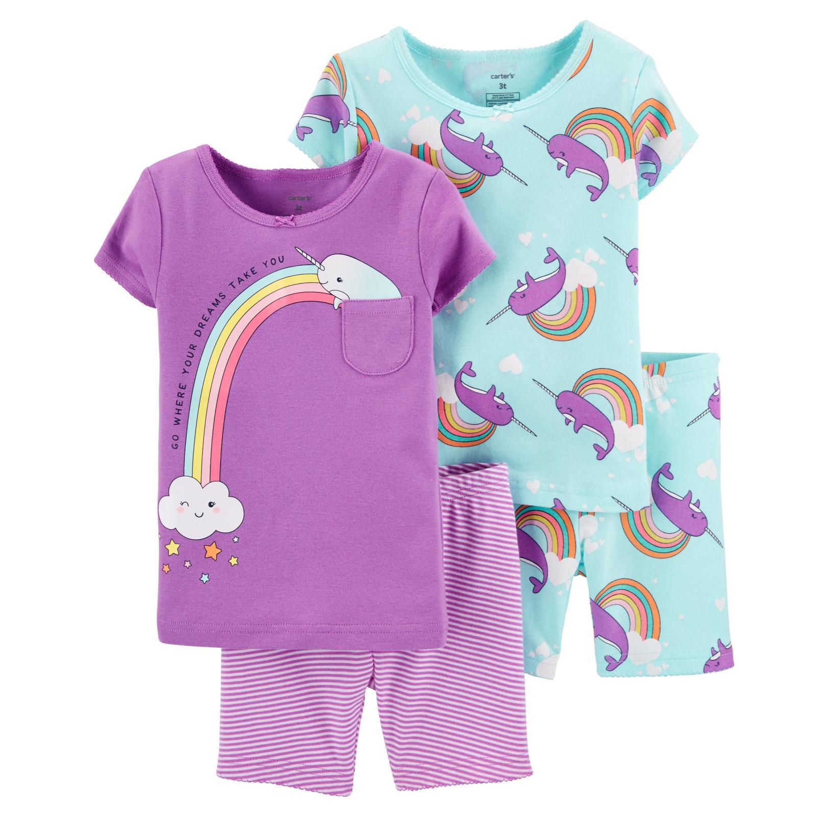 Pijama 4 peças lilás baleia
