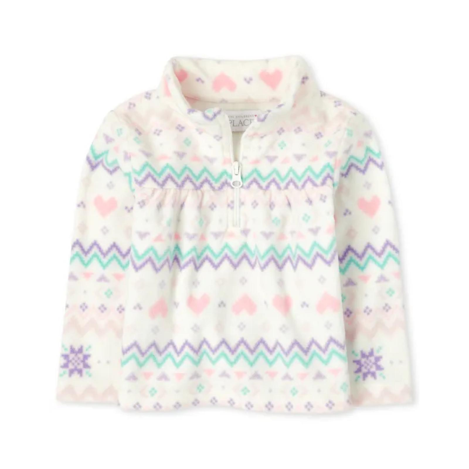 Sweater fleece listras rosa e lilas | 4 anos